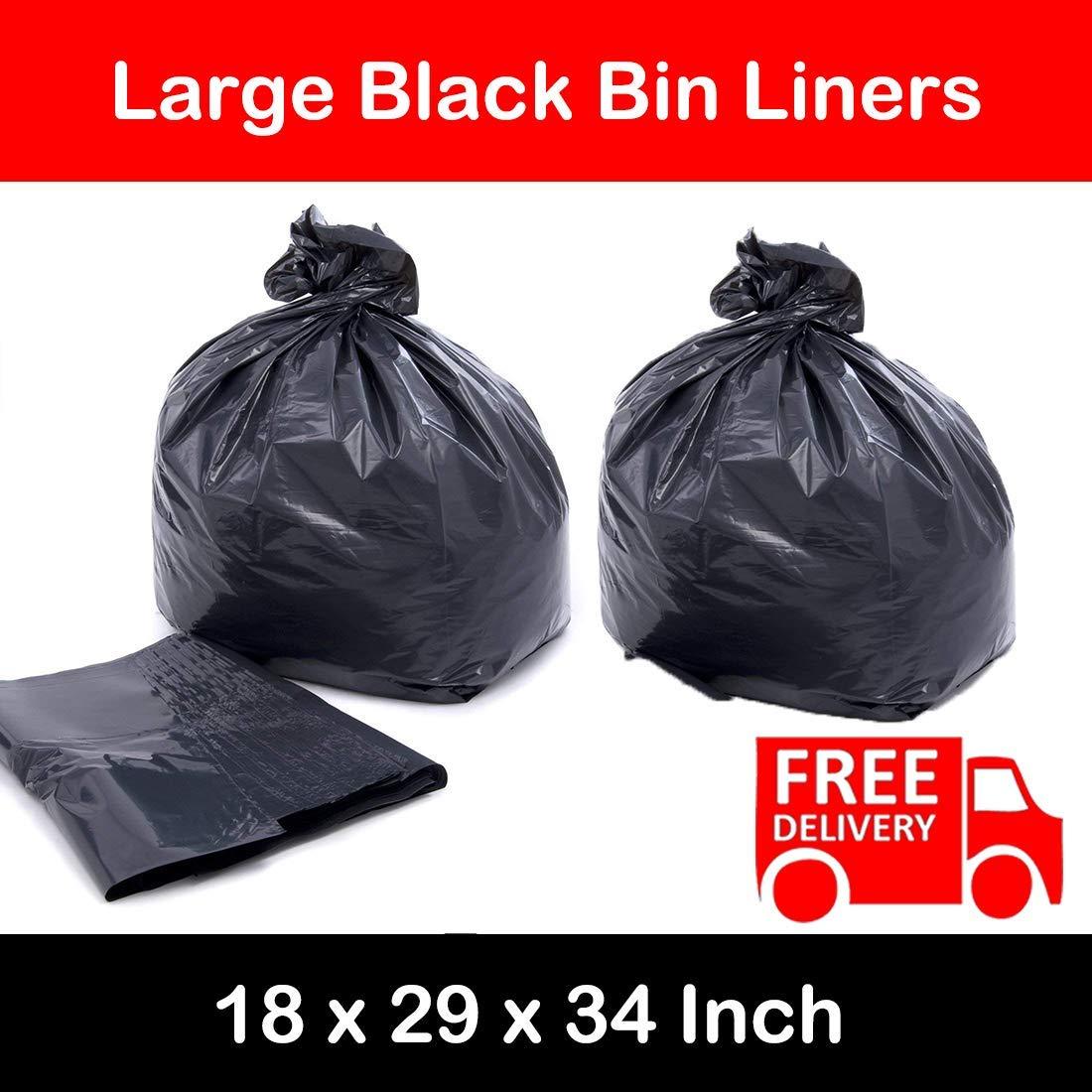 BLACK HEAVY DUTY LARGE REFUSE BAGS SACKS BIN LINERS RUBBISH 18x29x34 INCH BULK (100) Elite-Packaging
