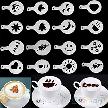 16pcs plantillas para decoración de café Pad Duster spray para Latte Cappuccino Cupcake Cookie plantillas