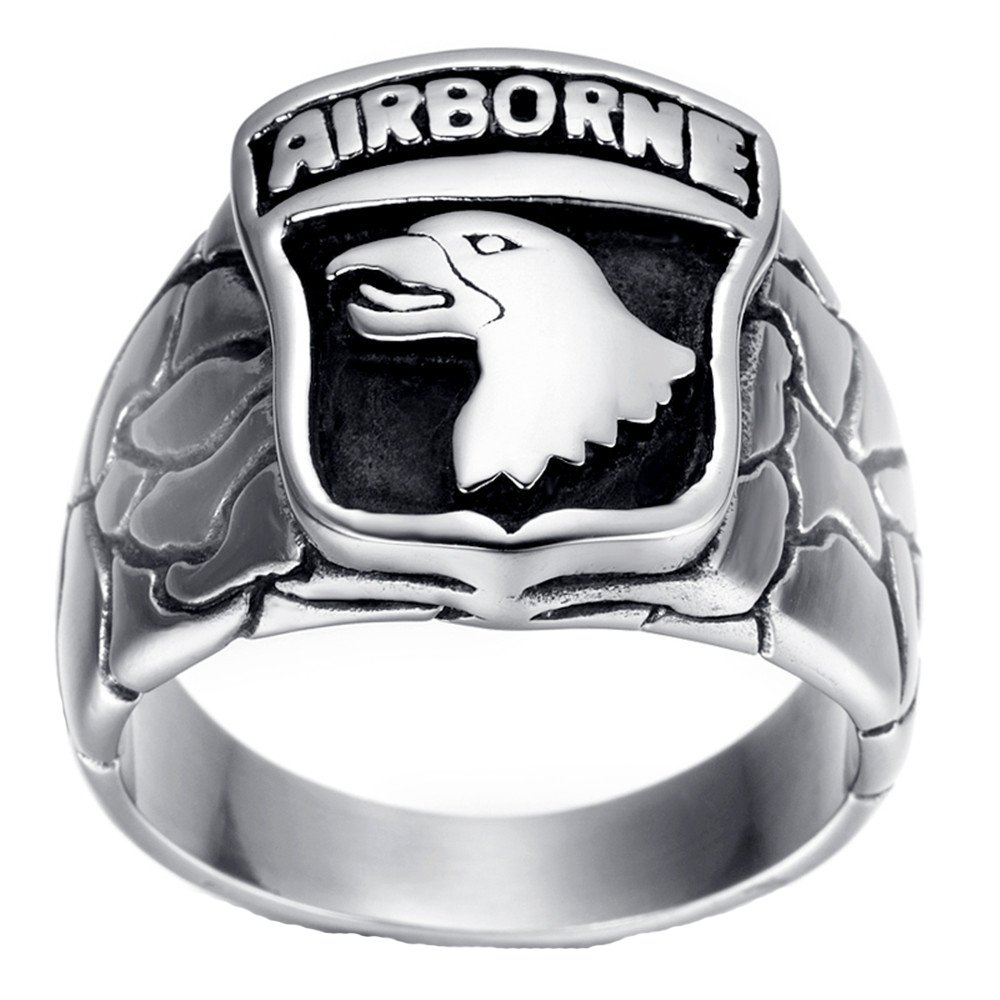 LUZO Jewelry Stainless Steel 101st AIRBORNE Divisions Screaming Eagle US Army Military Ring