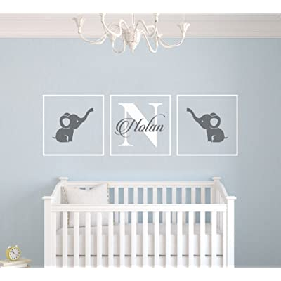 "Personalized Name Elephants - Frames Series -Baby Boy/Girl Wall Decal Nursery for Home Bedroom Children (AM) (Wide 42"" x 13"" Height): Baby"