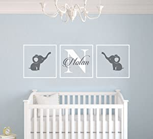 "Personalized Name Elephants - Frames Series -Baby Boy/Girl Wall Decal Nursery for Home Bedroom Children (AM) (Wide 30"" x 9"" Height)"