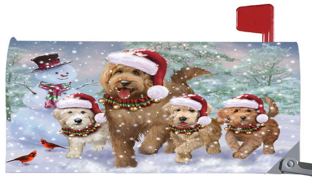 Doggie of the Day Magnetic Mailbox Cover Christmas Running Family Goldendoodles Dogs MBC48273
