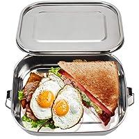 Bonheur Lunch Box Bento Box Forno a microonde Vetro Rotondo Storage Box Insieme a Due Pezzi Tre Scomparti 1040ml 2