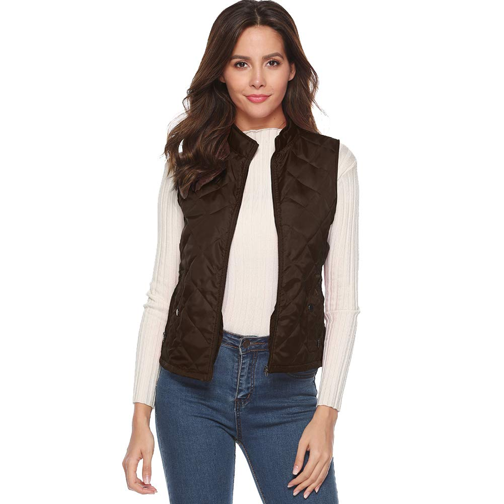 Lghxlxry Womens Casual Zipper Stand Collar Lightweight Quilted Padded Vest with Pocket