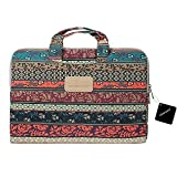 xhorizon TM SR Laptop Case,Bohemian Style Canvas Fabric Briefcase Carry Case for 13 inch MacBook Pro, Mystic Forest