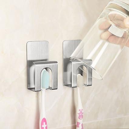 HGHMLIFE - Soporte de acero inoxidable para cepillo de dientes con taza para niños y adultos