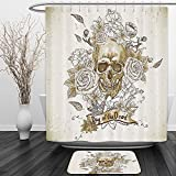 Vipsung Shower Curtain And Ground MatSkulls Decorations Collection Skull with Roses Day of The Dead Sign Horror Mexican Traditional Art Vanilla White IvoryShower Curtain Set with Bath Mats Rugs