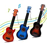 Musical Guitar Ukulele Educational Toys - Wishtime Electric Guitar with 4 Strings Musical Toy Instruments Gift for Children Learning (Color in Random)