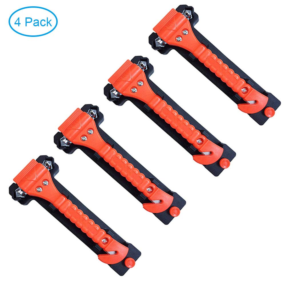 Emergency Escape Tool with Car Window Breaker and Seat Belt Cutter RJWKAZ 4 Pack Car Safety Hammer Life Saving Survival Kit