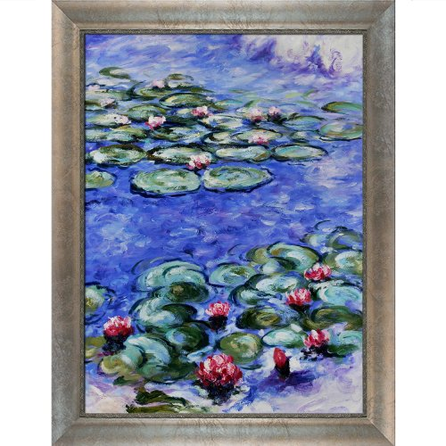 - overstockArt Water Lilies Oil Painting with Silver Scoop Swirl Lip by Monet, Silver Frame with Champagne Highlights