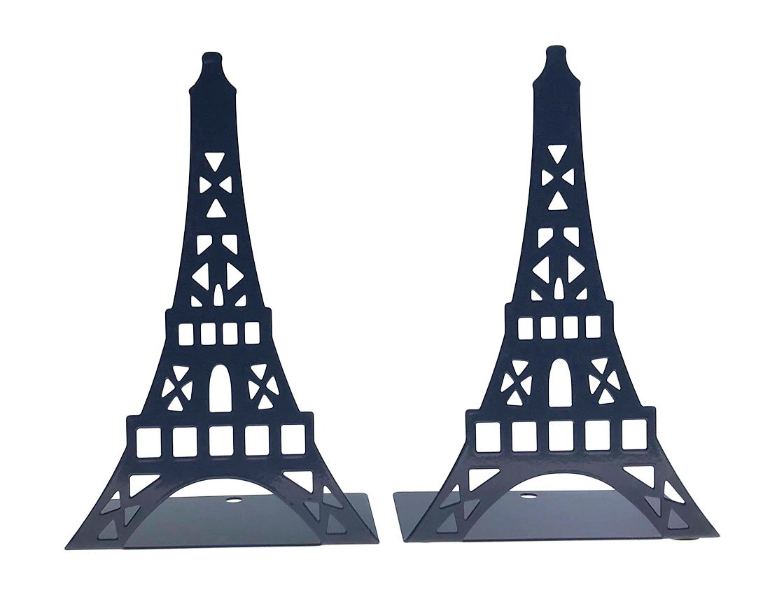 Arsdoll Hollow out France Paris Landmark Eiffel Tower Heavy Duty Nonskid Iron Metal Bookend Book Holder For Office School Library Home Study Decoration Gift (Blue)