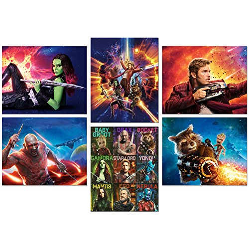 Guardians of the Galaxy Vol 2 Movie Prints - Set of Six 8x10 Photos - Star Lord - Baby Groot - Gamora - Drax - Rocket