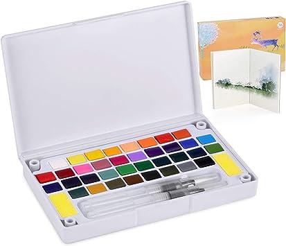 Funxim - Set de Acuarelas de 36 Colores, Caja de Acuarela portátil, no tóxico, Lavable, Regalo para Principiantes, Estudiantes y niños viajeros: Amazon.es: Hogar