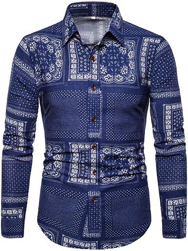 Camisa de Manga Larga con Estampado Salvaje de algodón y Lino para ...