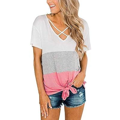 COOlCCI〓Women\'s Casual Summer Short Sleeve Solid Criss Cross Front V-Neck Criss Cross T-Shirt Tops Pink: Clothing [5Bkhe1206036]