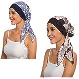 2Pack Women's Head Scarf Chemo Cancer Hat Cap Sleep Turban Head Wraps Headwear