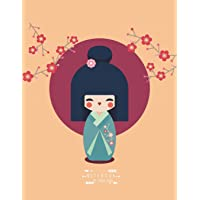 Notebook: Kimono dress girl in the cherry blossom garden on yellow cover and Lined pages, Extra large (8.5 x 11) inches…