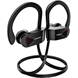 Mpow D1 Bluetooth Headphones, IPX7 Waterproof Sports Earphones w/Mic, HD Sound Secure Comfort Fit Metal Earbuds, 9 Hours Play Time for Running, Jogging, Cycling, Exercising