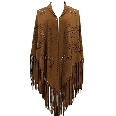 e46d66fc5 Image Unavailable. Image not available for. Color: ZOFZ Fashion Suede Laser  Cut Fringed Cape Shawl Wrap Scarf ...