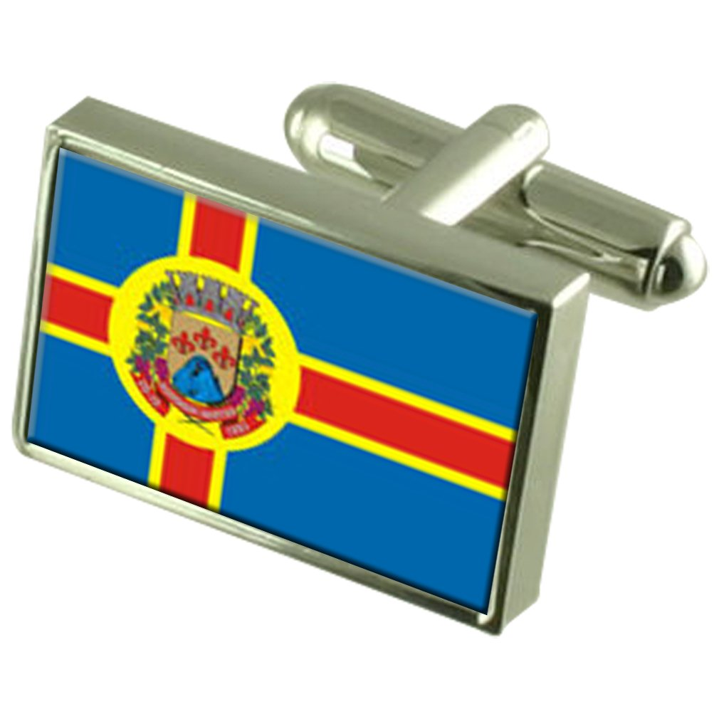 Domingos Martins City Espirito Santo State Flag Cufflinks Engraved Box