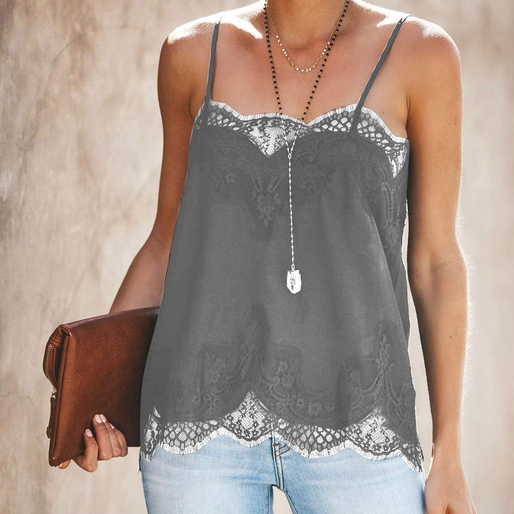NUWFOR Fashion Women Strappy Vest Top Sleeveless Lace Patchwork Blouse Casual Tank Gray by NUWFOR (Image #4)