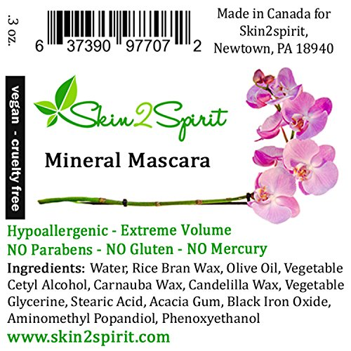 Natural Mineral Mascara | Made w Organic Ingredients | Non GMO | Hypoallergenic for Sensitive Eyes | Add Length & Volume | Vegan | Cruelty Free | Soften, Nourish & Grow Better Lashes! by Skin2Spirit (Image #8)