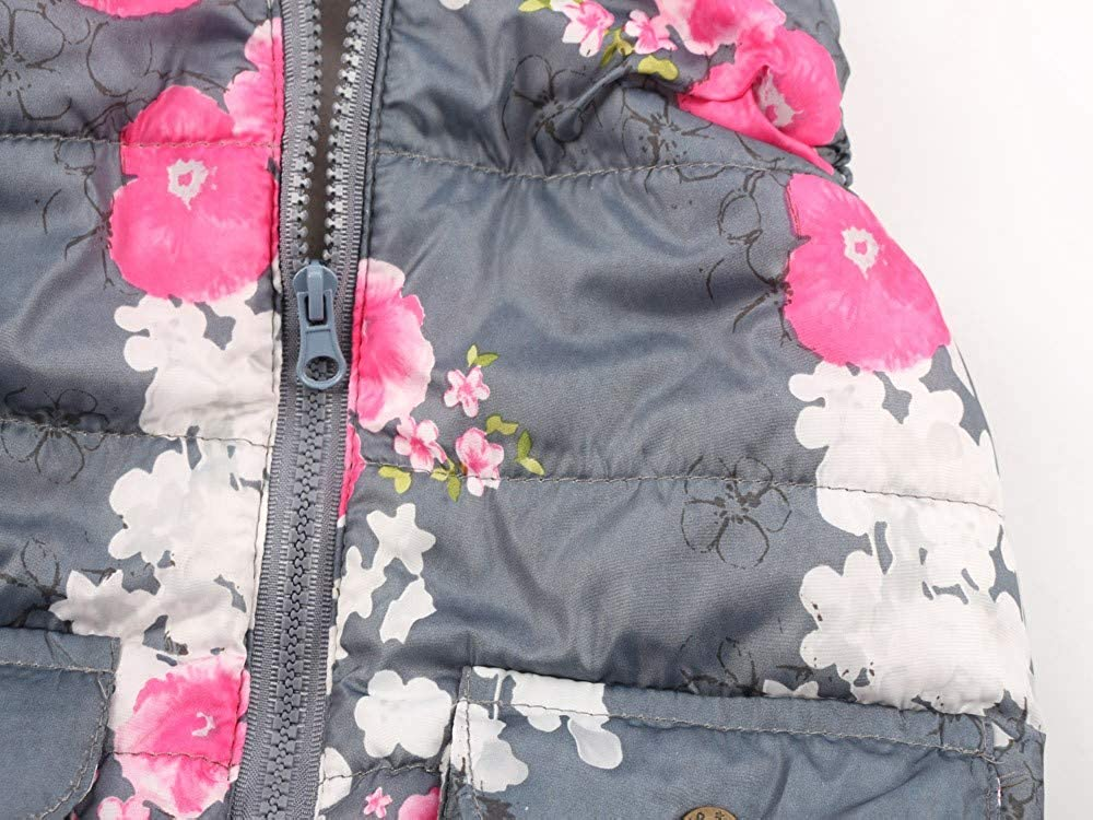 kaiCran New Toddler Baby Girl Jacket Coat Kid Sleeveless Floral Hooded Zipper Coat Outerwear Clothes with Pocket