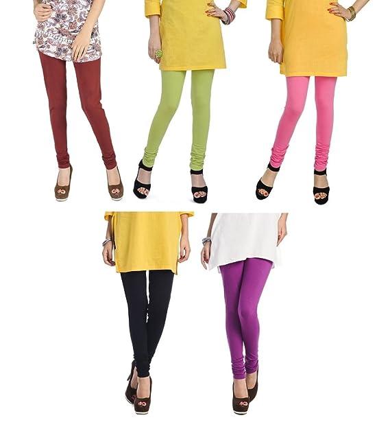 e187410744fcc0 Rupa Softline Multi-Color Cotton Leggings Combo (Pack Of 5): Amazon.in:  Clothing & Accessories