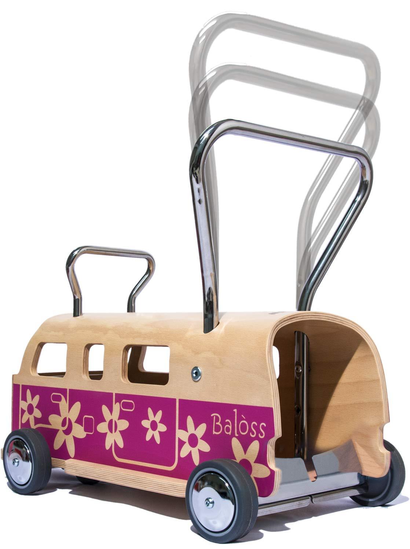 3 en 1 Andador + furgoneta + correpasillo Baloss FLOWER de madera ...