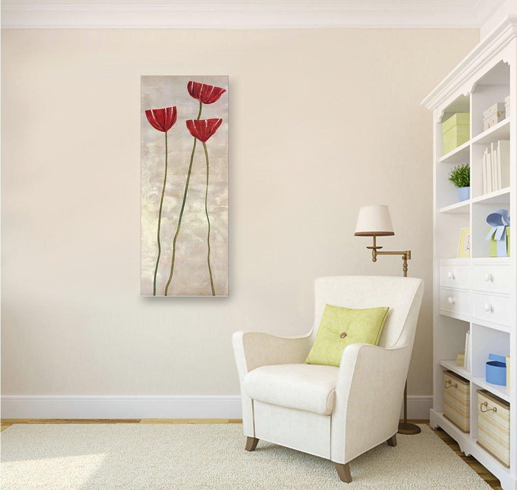 Tableau Impressions sur Toile Rojo Rouge Peinture Abstraite De Fleur Art pour Mur 40X100 cm