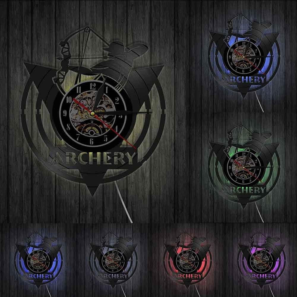 Lampe suspendue en vinyle /à 7 rubans color/és Fl/èche Tir /À Larc Arc Horloge Murale Tir /À Larc Logo Cible Tir Tir Arc Vinyle Disque Horloge Murale Cadeau Archer