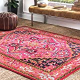 Cheap nuLOOM Traditional Vintage Center Medallion Area Rugs, 3′ x 5′, Violet Pink