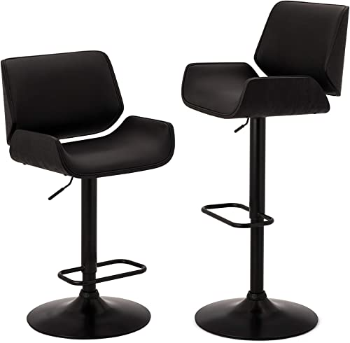 Glitzhome Adjustable Bar Stool Set of 2 Swivel Mid-Century Modern PU Leather Counter Dining Chair