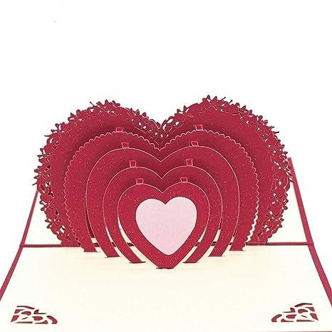 YOUTHLIKEWATER 5 unids 3D Corazón en Forma de Amor Pop UP ...