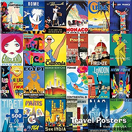 Re-Marks Travel Posters 500 Piece Puzzle Made in USA