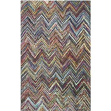 3 x 5 Safavieh Nantucket Collection NAN141A Handmade Abstract Chevron Pink and Multi Cotton Area Rug NAN141A-3