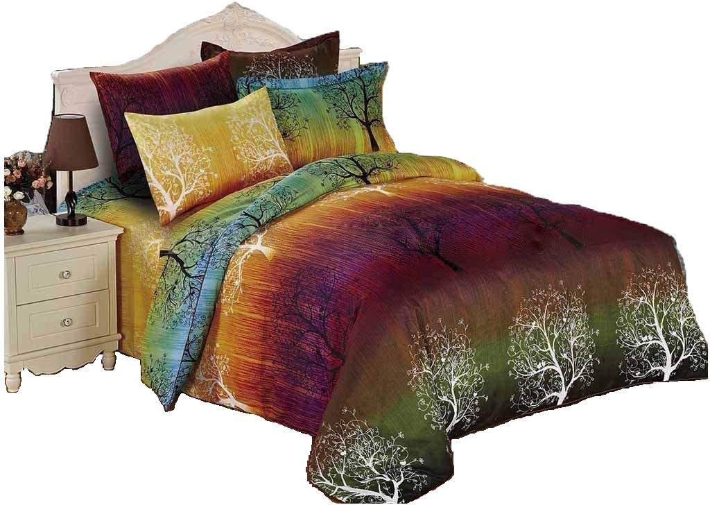 Swanson Beddings Rainbow Tree Bedding Set: Duvet Cover, Duvet Insert (White Comforter) and Two Pillowcases (Queen)