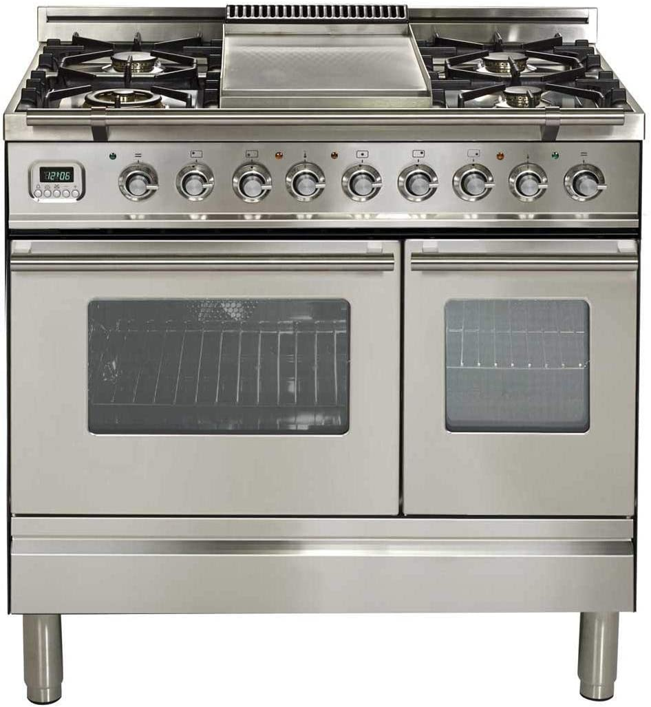 Ilve UPDW90FDMPILP Pro Series 36 Inch Dual Fuel Convection Freestanding Range, Double Ovens, 3.55 cu.ft. Total Oven Capacity in Stainless Steel (Liquid Propane)