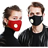 3 Pack Unisex Dust Masks + 6 Filter N95 Carbon Activated with Exhalation Valve For Anti-bacterial, Exhaust Gas, Anti Pollen Allergy, PM2.5, Running, Cycling