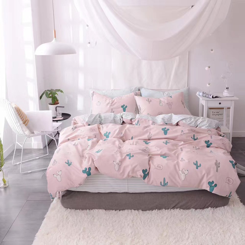 HIGHBUY Cactus Print Kids Duvet Cover Set Full 100% Cotton Pink Striped Children Duvet Cover with Zipper Closure 3 Piece Reversible Bedding Set Queen for Girls by HIGHBUY (Image #3)