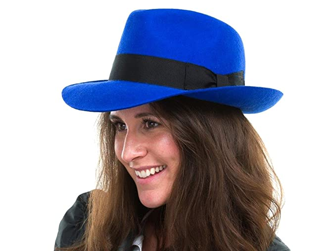 18f523ebec35c The Hat Outlet Women s Royal Blue Wool Trilby Fedora Hat  Amazon.co ...
