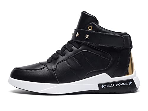 c8d9e2c7efc5 TQGOLD Mens Casual High-Top Trainers Sneakers Leather Waterproof Velcro Lace  Up Shoes ( Black