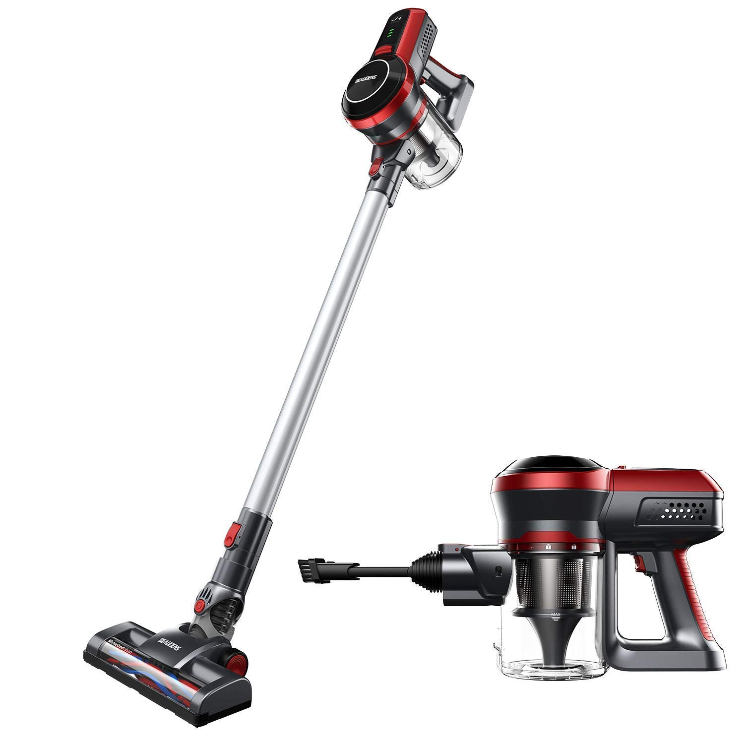Cordless Vacuum Cleaner, Powerful 130W Motor, Lightweight and Quiet, 45 Minutes Long Runtime, 2 in 1 Stick and Handheld, Wall Mounted