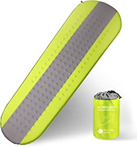 XGEAR Self Inflating Sleeping Pad Lightweight - Compact Foam Padding Waterproof Inflatable Mat for Camping Hiking Backpacking - Thick 1.5 Inch for Comfortable Sleep, Green/Grey