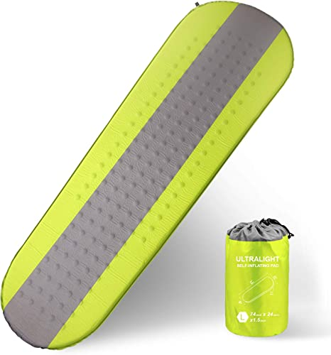 XGEAR Self Inflating Sleeping Pad Lightweight – Compact Foam Padding Waterproof Inflatable Mat for Camping Hiking Backpacking – Thick 1.5 Inch for Comfortable Sleep, Green Grey