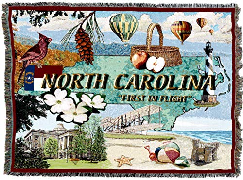 Pure Country Weavers | North Carolina 2 Woven Tapestry Throw Blanket Cotton USA 72x54