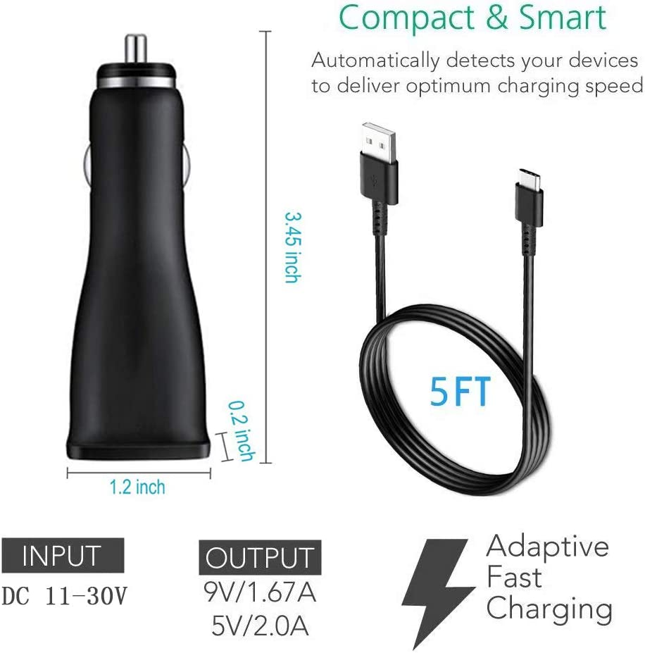 LaoFas USB Rapid Car Charger with Type C Cable 5ft Compatible Samsung Galaxy S10+//S10e//S10//S9//S9 Plus//S8//S8 Plus//S8 Active//Note10//Note 9//8 and More Adaptive Fast Charging Dual-Port Car Charger