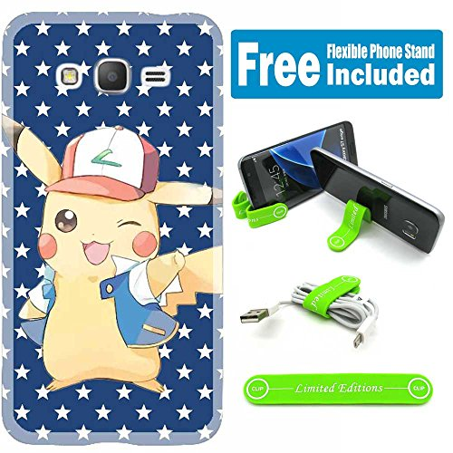 [Ashely Cases] Samsung Galaxy J7 (2016) Cover Case Skin with Flexible Phone Stand - Pokemon Pikachu Bluestar Photo - Pokemon Gaming