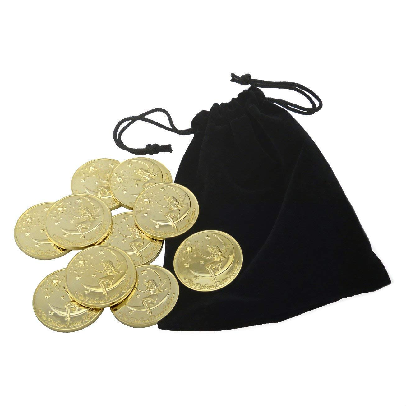 Tooth Fairy Coins, Designer Set ''First Tooth'', Gold Plated (English Language) Milchzahnzwerge