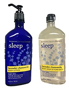 Bath & Body Works, Aromatherapy Sleep Body Lotion and Body Wash & Foam Bath, Lavender Chamomile (Bundle of 2)